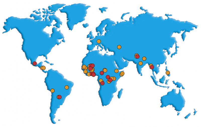 Carte du monde et répartition des projets soutenus depuis 2004